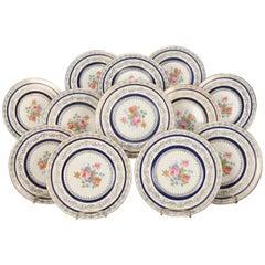 12 Gold Gilt Translucent China Porcelain Gilt Dinner Plates with Roses