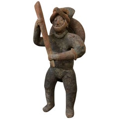Ancient Large Colima Standing Ceramic Figure Holding Bat