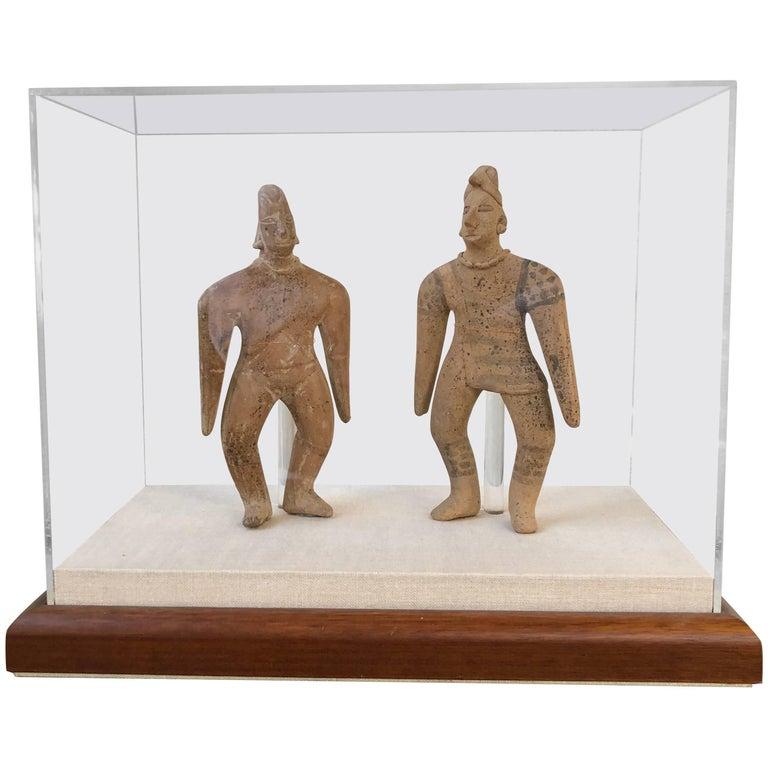 Pair of Pre-Classic Colima Figures In Presentation Case