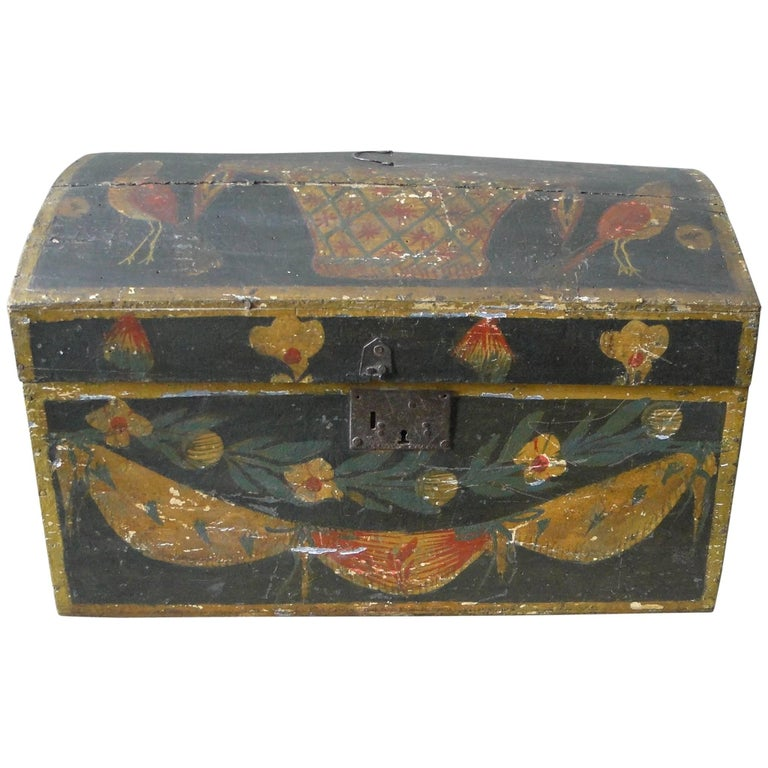 19th Century Painted Wooden Wedding Box Folk Art