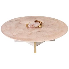 Marc D'Haenens Unique Coffee Table with Pink Quartz, circa 1980, Belgium