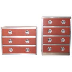 Machine Age Art Deco Streamline Pair of Aluminium Chests or Dressers Bel Geddes