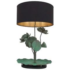 Brass Lotus Lamp in Verdigris Patina