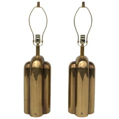 Pair of Art Deco Style Brass Lamps