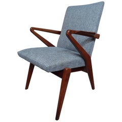 1950s Newly Upholstered Grey Fabric Retro Vintage Teak Armchair