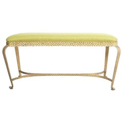 Pair Of Pier Luigi Colli Gold Iron Bench Green Fabric, Italy, 1950