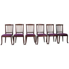 Set of Six Mahogany Art Deco Amsterdam School Chairs, 1920s