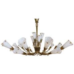 Midcentury Brass Genet & Michon & Sèvres Glass Chandelier