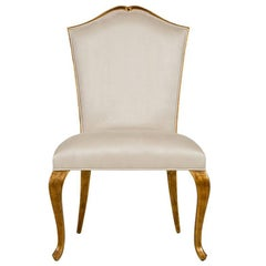 Estiva Chair with Mahogany Structure with Gold Painting and High Quality Fabric