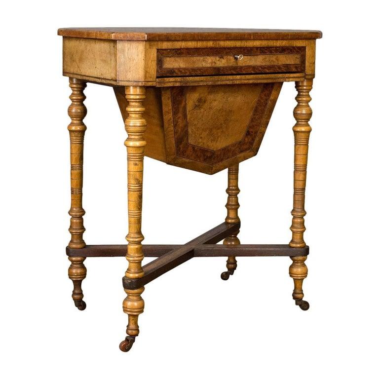 Antique Work Table Regency Sewing English Burr Walnut Amboyna, circa 1820