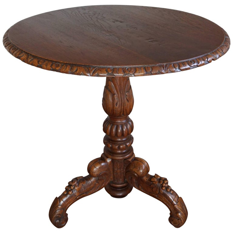 Practical Size 19th Century Handcrafted and Hand-Carved Oak Tilt-Top Table
