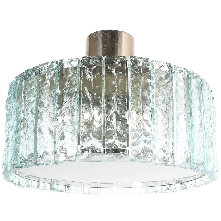 Fontana Arte Model 2448 Glass Nickel Flush Mount Chandelier, Italy, circa 1967 For Sale