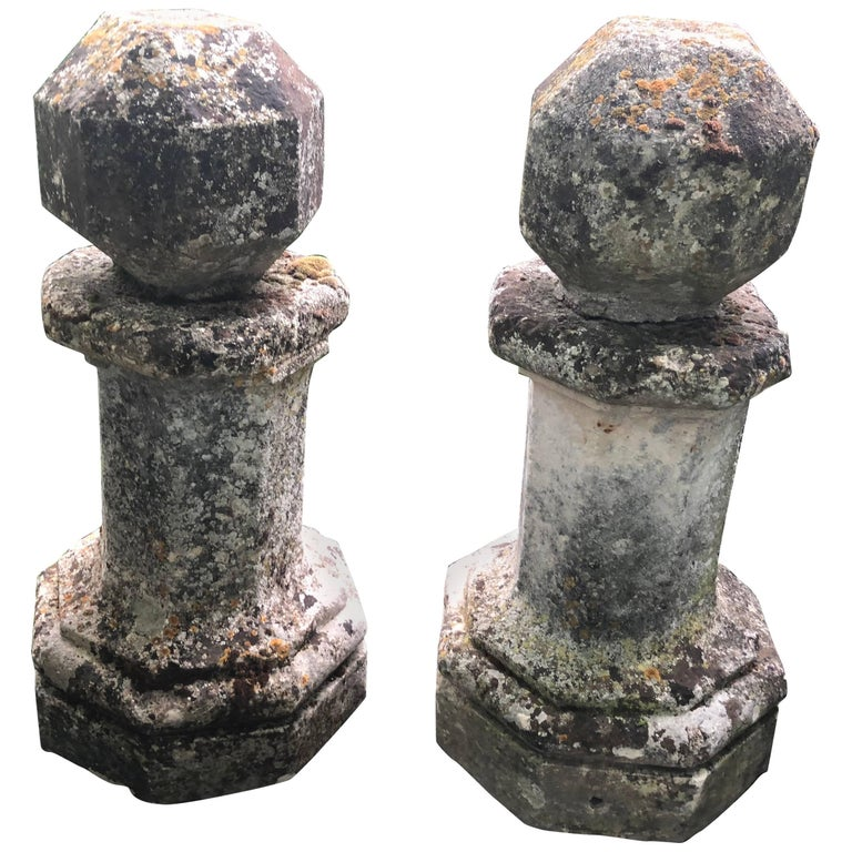 Rare Pair of Tall Octagonal Hand-Carved French Limestone Finials