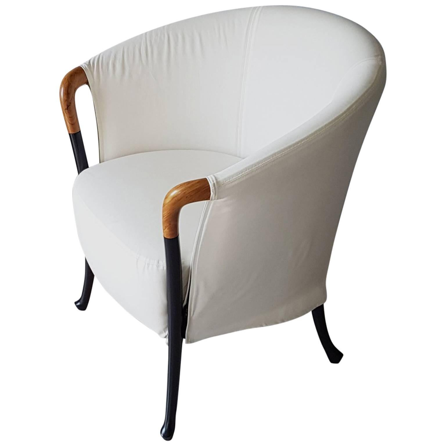 Asnago White Fabric Beechwood Italian Armchair With Black Lacquered Legs,  1990