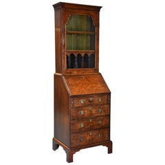 Fine Quality Queen Anne Style Walnut Bureau Bookcase of Small Proportions