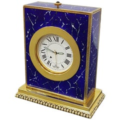 Italian Sterling Silver Table Clock with Enamels as Lapilazuli, Swiss Movement