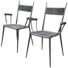Pair of Perforated Metal Chairs, circa 1940
