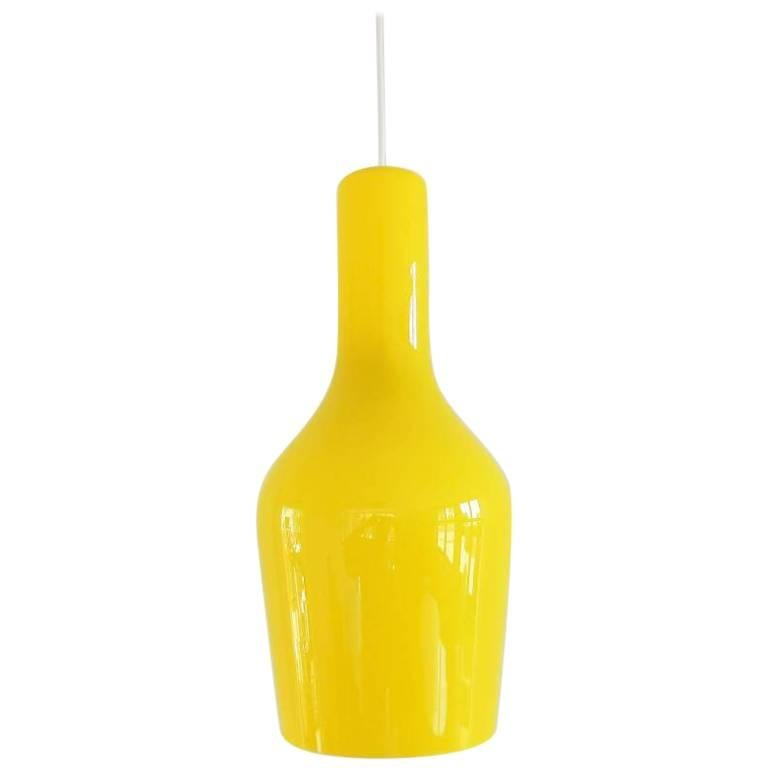 Yellow Murano Glass Pendant Lamp by Gino Vistosi, 1960s
