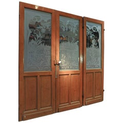 Set of Three French Art Nouveau Craved Glass Inside Doors, circa 1900