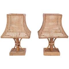 Pair of Pagoda Table Lamps, Bamboo, circa 1960, France
