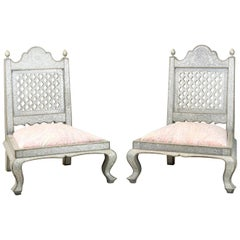 Pair of Moorish Style Fireside Chairs Decorated with Repoussé, circa 1970