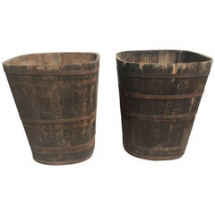 Pair of Large Signed Alsatian Wooden Master Grape Collection Tub Planters #2