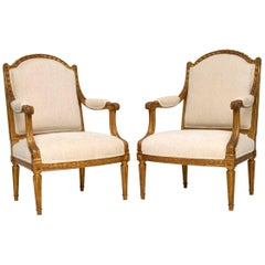 Pair of Antique French Giltwood Armchairs