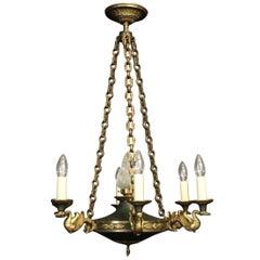 French Empire Gilded Bronze Seven-Light Chandelier