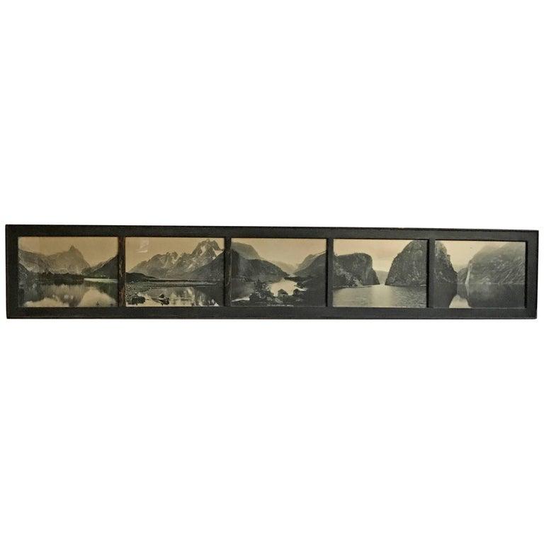 19th Century Panaramic Scenic Black and White Photograph of Loen Lake Nordfjord