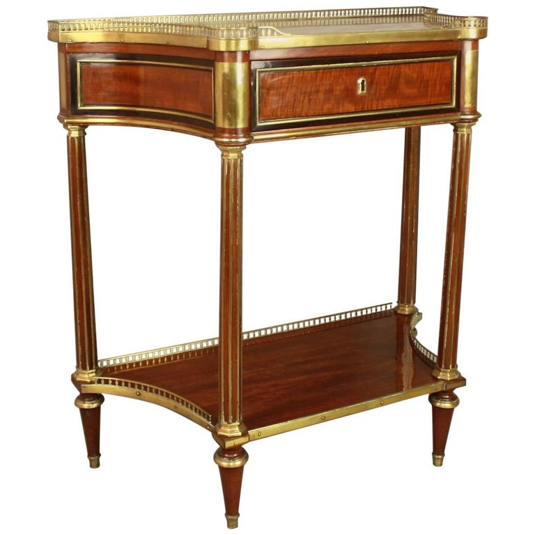 Louis XVI Gilt Bronze-Mounted Satinwood and Mahogany Console Table For Sale