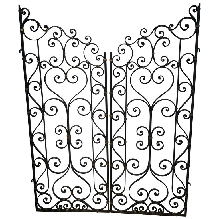 Pair of Hand-Forged Iron Gates or Partitions Double Sided