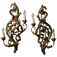 Florentine Pair of Four-Arm Silver Gilded Wall Lights