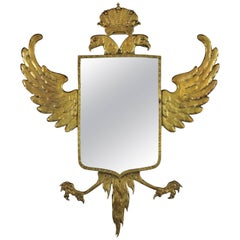 Empire Style Crowned Double Headed Eagle Bronze Wall Mirror, Spain, 1930s