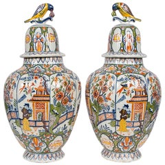 Large Delft Vases with Polychrome Colors a Pair