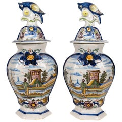 Pair of Delft Mantle Vases Painted Polychrome Colors   IN STOCK