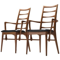 Niels Koefoed Set of Two 'Lis' Teak and Leather Dining Chairs