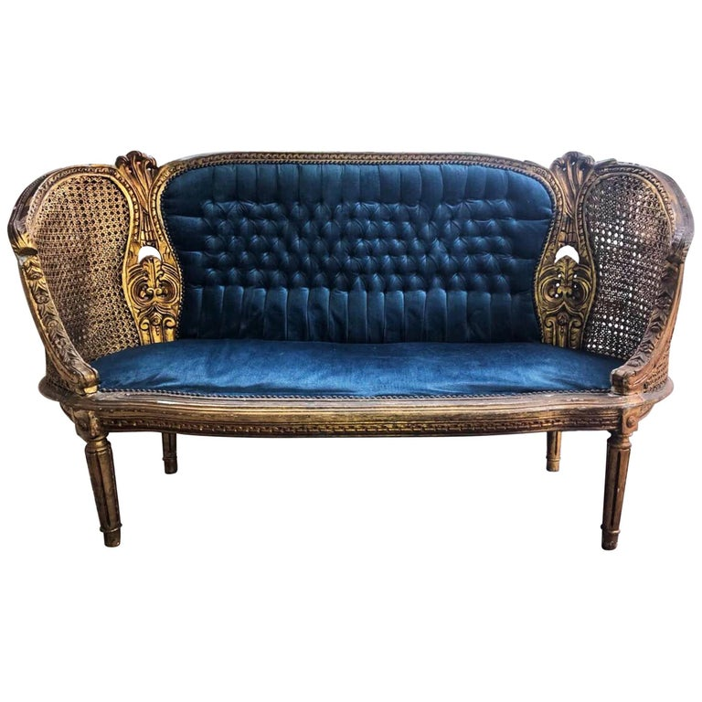 "19th Century French Louis XVI Gilded Cane Blue Settee or Canapé ""Corbeille"""