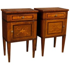 20th Century Pair of Italian Inlaid Wooden Bedside Tables in Louis XVI Style