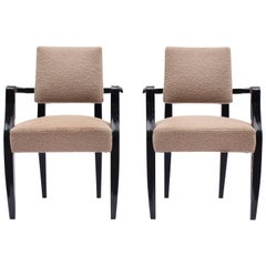 French 1940s Black Lacquered Bridge Chairs