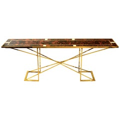 Romeo Rega Faux Tortoise and Brass Console Table