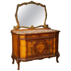 Italian Dresser with Mirror in Wood with Marble Top from 20th Century