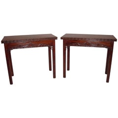 Pair of Chippendale George III Mahogany Tea Table and Card Table
