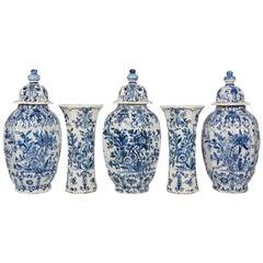 Blue and White Delft Garniture Five-Piece