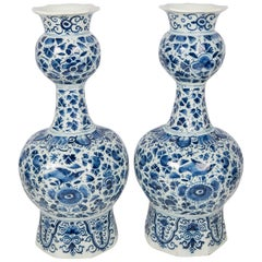 Antique Blue and White Delft Vases Pair Hand-Painted   IN STOCK
