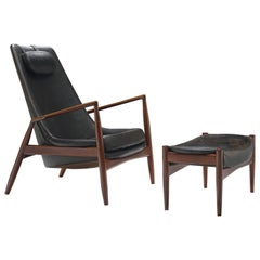 Ib Kofod-Larsen High Back Chair in Leather and Teak
