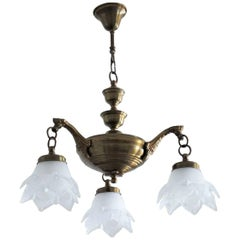 Midcentury Art Deco Style Three-Light Chandelier Brass and Frosted Glass Tulips