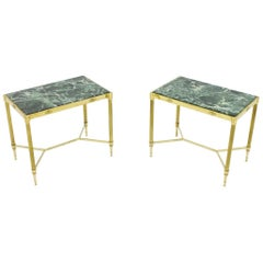Pair of Italian Brass Side Tables with Green Marble Top, 1950s