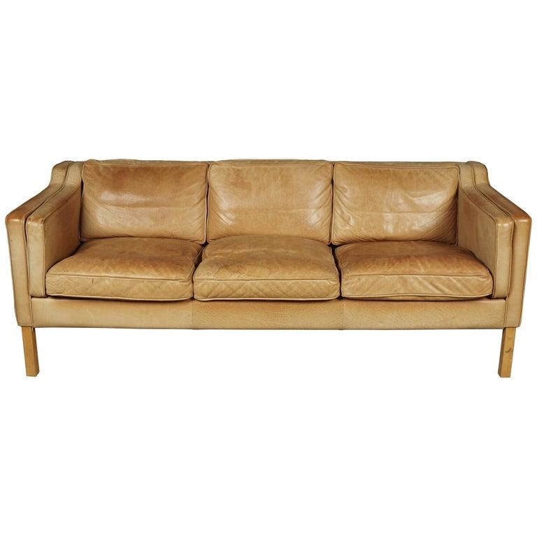 Midcentury Leather Sofa from Denmark, circa 1970
