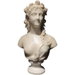 19th Century Italian Neoclassical Sculpture White Marble Signed Franceschi
