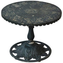 Rare Molla Dark Green Cast Aluminium Zodiac Garden Side Table
